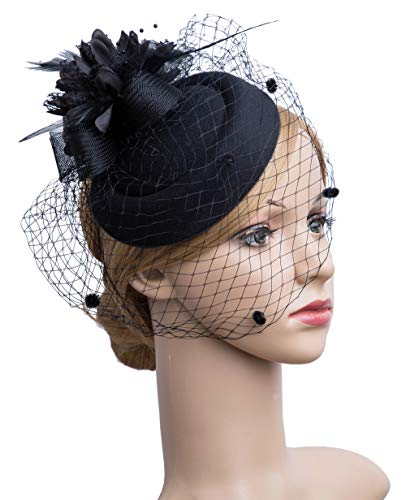 Cizoe Fascinator Hair Clip Pillbox Hat Bowler Feather Flower Veil Wedding Party Hat Tea Hat(Black1)
