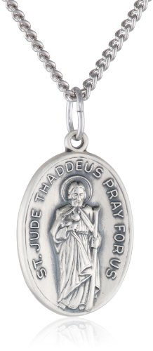 Antique Finish Pendant - Sterling Silver Oval Saint Jude Medal with Antique Finish and Stainless Steel Chain, 20