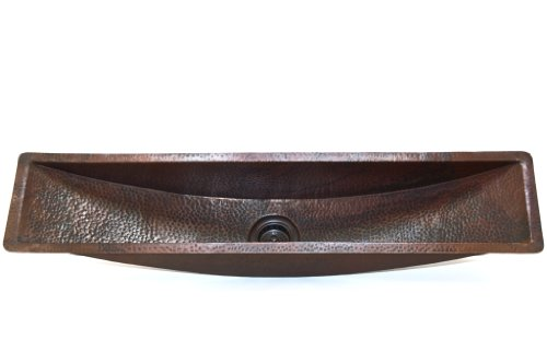 Rectangular Copper Bar Sink, 45 x 10 x 6.5 Inches, Bordeaux, Finish Cafe Viejo