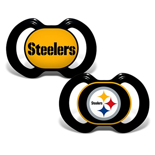NFL Football 2014 Baby Infant Pacifier 2-Pack - Pick Team (Pittsburgh Steelers - Holes)]()
