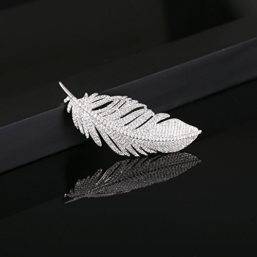 LILIE&WHITE White Gold Plated Cubic Zirconia Paved Feather Brooch Pin Mother's Day Gift Leaf Shape by LILIE&WHITE (Image #3)'