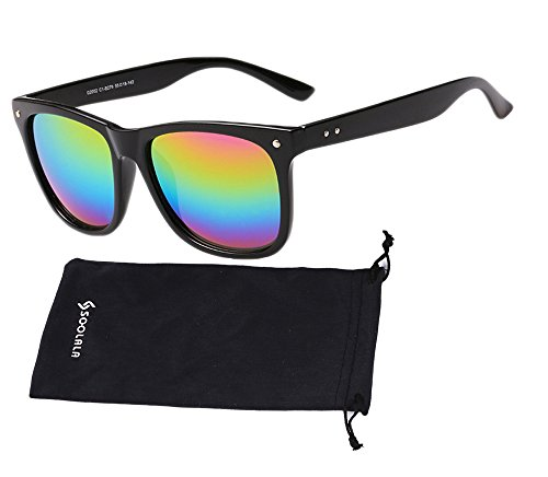 Rainbow Mirror Lens - SOOLALA Best Value Pack Retro Large Horn Rimmed Mirror Lens Wayfarer Sunglasses, Rainbow