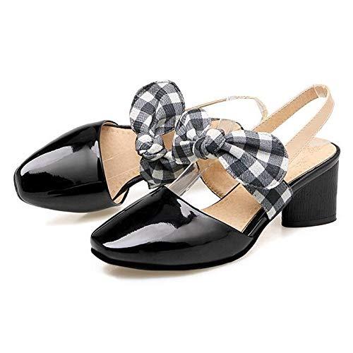 QOIQNLSN Zapatos De Mujer PU (Poliuretano) Comodidad Verano Tacones Chunky Talón Blanco/Negro Black