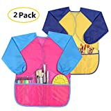 Kids Art Smocks 2 Pack - Children's Waterproof Thickened Artist Painting Aprons Long Sleeve with 3 Roomy Pockets for Age 2-6 Years