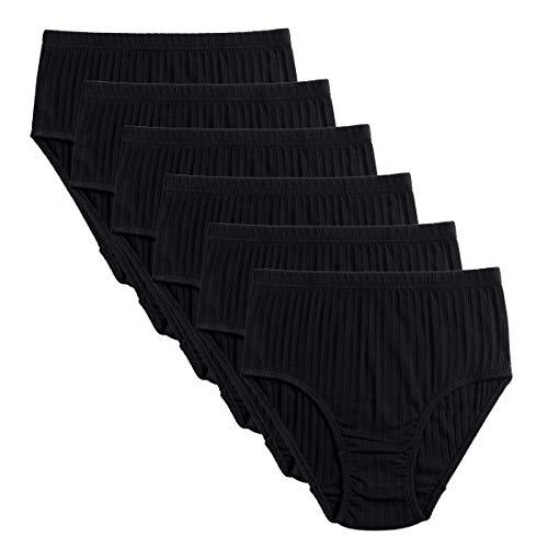 Knitlord Women's Plus Size Underwear Cotton 6 Pack Comfort Briefs Panties (5XL, Black 6pk)