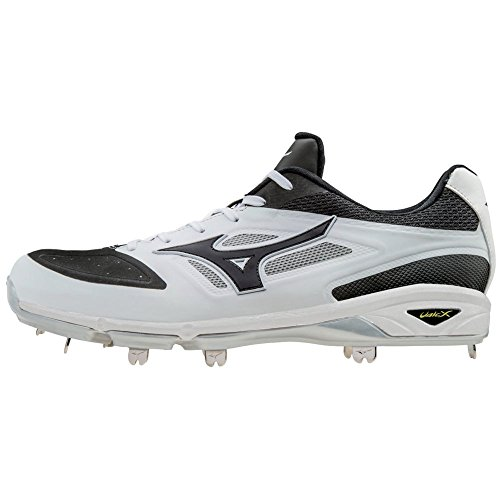Mizuno Dominant IC Adult Men's Low Cut Metal Baseball Cleats - White & Black (Men's Size 9.5)