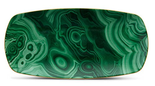 L'Objet Malachite Rectangular Tray - Medium 12'' x 6'' by L'Objet