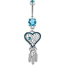 Fancy Arrow in Anchor Heart Dangling 925 Sterling Silver with Stainless Steel Navel Button Ring