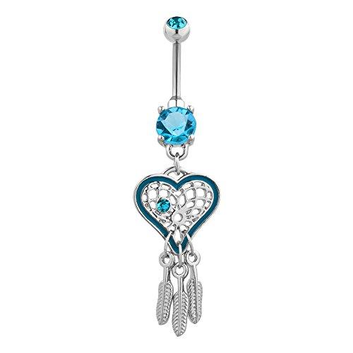 LilyJewelry Dream Catcher Long Dangle Sexy Heart Belly Button Rings 316L Surgical Steel (Blue) ()