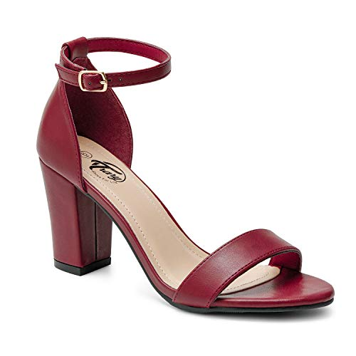 Trary Women's Ankle Strap and Adjustable Buckle Chunky Pump Heel Sandals Pu Wine Red ()