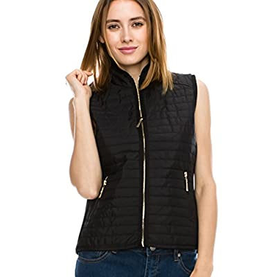 JEZEEL Women's Casual Quilted Padding Side Rib Gold Zipper Detail Vest.(J601_Small to 4X) at Women's Coats Shop