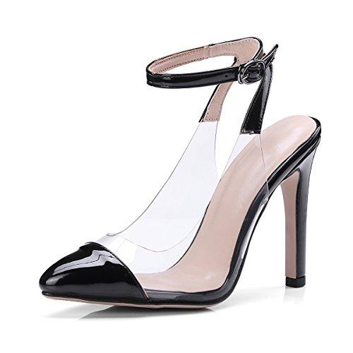 JIEEME Ladies Sexy Stiletto High Heels Buckle Strap Women Sandals Black red Summer Women Pumps Black