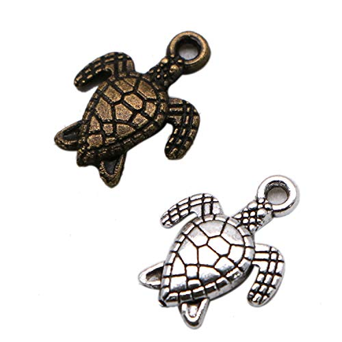 JETEHO 200 Pcs Antique Silver and Bronze Mixed Color Sea Ocean Tortoise Turtle Charm Pendants for Bracelet Jewelry Making