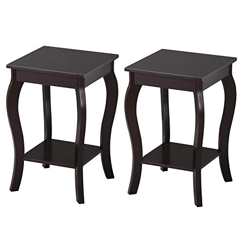 Topeakmart Wood Curved Legs Accent Side End Table Sofa End Table w/Lower Shelf Espresso, Set of 2 -