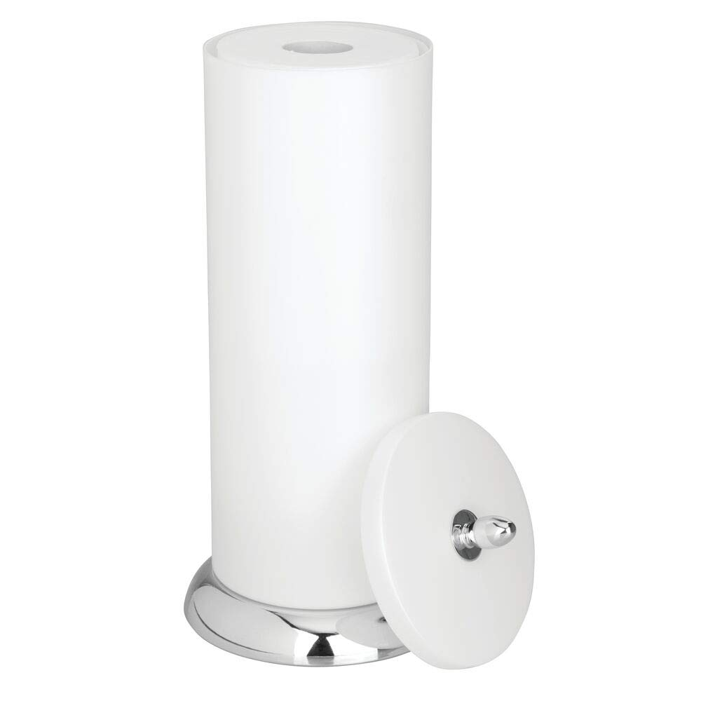 mDesign Plastic Free Standing Toilet Paper Holder Canister with Storage for 3 Extra Rolls of Toilet Tissue - for Bathroom/Powder Room - Holds Mega Rolls - Pearl White/Chrome by mDesign