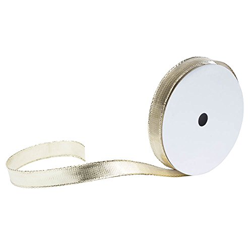 JAM PAPER Wire Edged Ribbon - 1/2 x 3 yards - Gold - Sold Individually