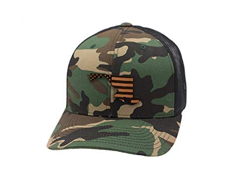 Branded Bills 'Maryland Patriot' Leather Patch Hat Curved Trucker - OSFA/Camo (Maryland Camo Hat)
