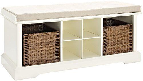 Crosley Furniture  Brennan Entryway Storage Bench with Wicker Baskets and Cushion, White (Bench Cushion White)
