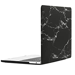 TOP CASE - Macbook Pro 13 Case Release 2017 & 2016, Marble Pattern Rubberized Hard Case for MacBook Pro 13-inch A1706 with Touch Bar / A1708 without Touch Bar ( Release 2017 & 2016 ) - Marble Black