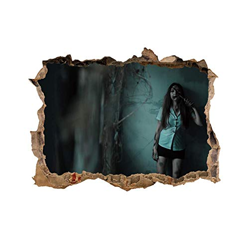 Lankey Halloween Wall Stickers Zombie Vampire Pattern Wall Decals 3D Breaking Wall Sticker Decals Decorative Spooky Wallpapers Party Supplies Halloween Home