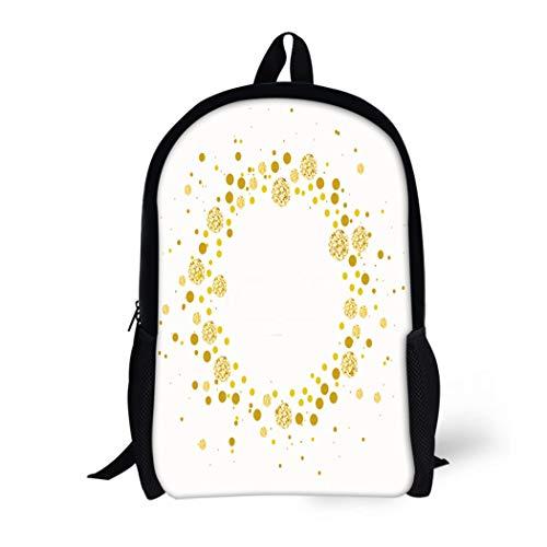 (Pinbeam Backpack Travel Daypack Wedding Modern Chic Dot Gold Pattern Confetti Inspiration Waterproof School)