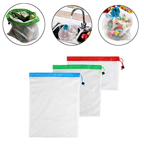 3pcs/Set Reusable Mesh Bags for Grocery Shopping, Toy Storage, Travel - Garden Harvest, Camping Trips, Snacks - Picnics Supplies by Gano Zen