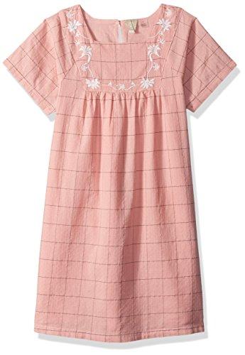 Roxy Little Girls' Precious Butterfly Short Sleeve Dress, Peaches N Cream Simple Plaid, 6 - Cream Short Sleeve Dress