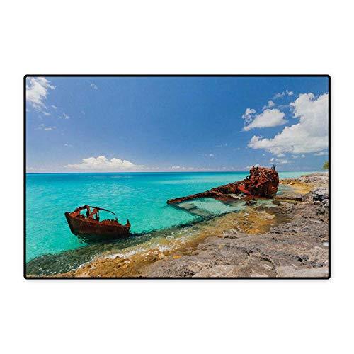Decorative Rock Speaker - Shipwreck,Bath Mat,Ship Wreckage on a Peaceful Rock Shore Natural Wonder Under Idyllic Sky Image,Door Mats Area Rug,Multicolor 24