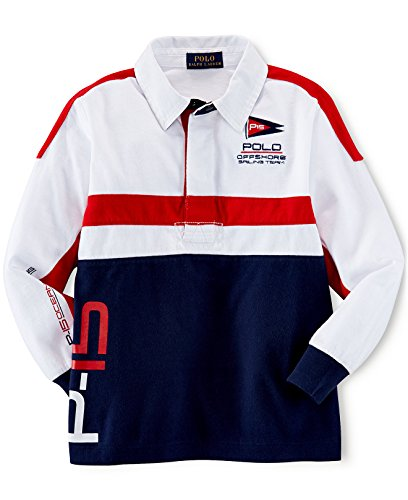 Pieced Rugby Shirt (Ralph Lauren Polo Boys Pieced Sailing Team Striped Rugby Shirt (2 2T))