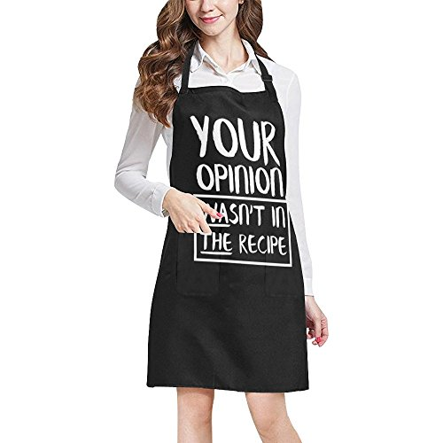 (INTERESTPRINT Funny Quotes Apron, Your Opinion Wasn't in The Recipe All Over Print Adjustable Bib Apron with Pockets - Commercial Restaurant and Home Kitchen Apron for Women Men, Large Size)