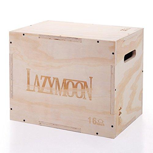 LAZYMOON 3 in 1 Wooden Plyo box 20x14x16 Inch CrossFit Plyometrics Jumping Trainer Box Platform by LAZYMOON