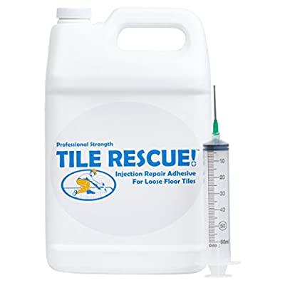 Tile Rescue Injection Repair Adhesive 1 Gallon Jug with Blunt Tip Syringe Applicator