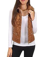 Pure Look Women's Faux Fur Lined Hidden Hood High Collar Zip Quilted Puffer Vest