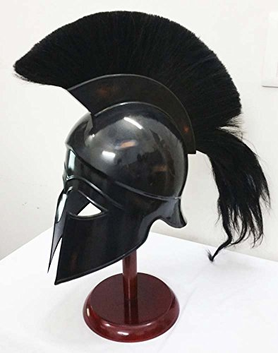 Greek Corinthian Helmet Ancient Medieval Armor Knight Spartan Replica Helmet with Black Plume]()