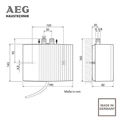 AEG 189631 MTH 350 UT - Calentador de agua abierto con grifo (tamaño pequeño, 3,5 kW, 230 V, instalación bajo la pila), color blanco: Amazon.es: Bricolaje y ...