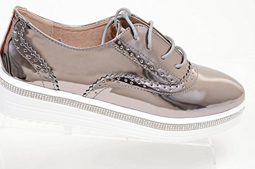 Bling Juvel Snör Åt Upp Vegan Läder Womens Plattform Oxford Wedge Tenn