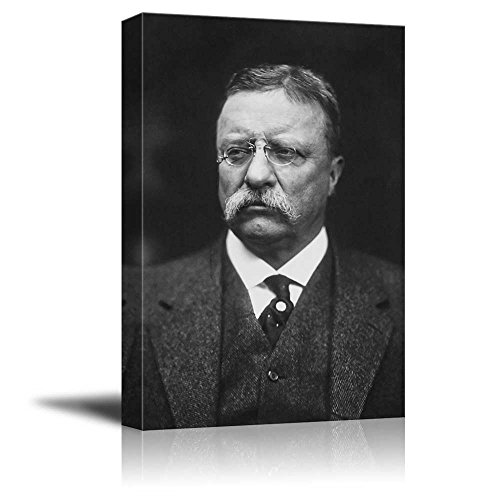 wall26 - Portrait of Theodore Roosevelt (26th President of the United States) - American Presidents Series - Canvas Wall Art Gallery Wrap Ready to Hang - 16x24 inches (Roosevelt Portraits Theodore)