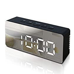 GLOUE Alarm Clock with USB Charger, Digital Alarm Clocks for Bedrooms, Small Bedside Mirror Alarm Clock, 12/24 Hr, Temperature, Snooze and Large Display, Battery Back Up& Adjustable Brightness (Black)