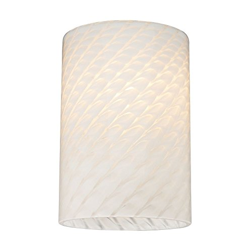 Cylinder White Art Glass Shade - Lipless with 1-5/8-Inch Fitter (Cylinder Glass Shade Replacement)