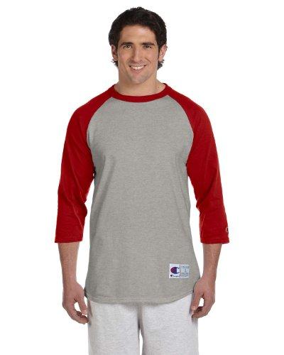 Champion 5.2 oz. Raglan Baseball T-Shirt, Medium, OXF Gry/Scarlet
