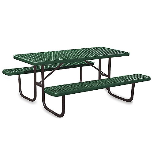 """Ultraplay Thermoplastic Coated Steel Picnic Table - 1-5/8"""" Dia. Frame - 8'L - Green - Green"""