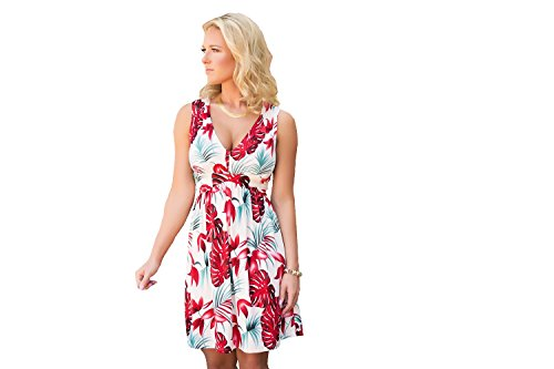 Charm Your Prince Women's Sleeveless Summer Sundress Tropical Cream Floral L
