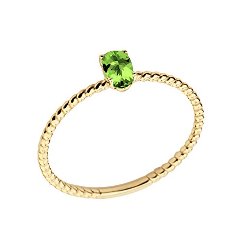 Dainty 14k Yellow Gold Stackable Oval-Shaped Peridot Rope Engagement/Promise Ring (Size 7) ()