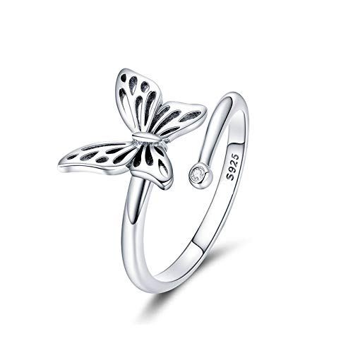 - GDDX 925 Sterling Silver Adjustable Butterfly Rings for Women Girls Jewelry