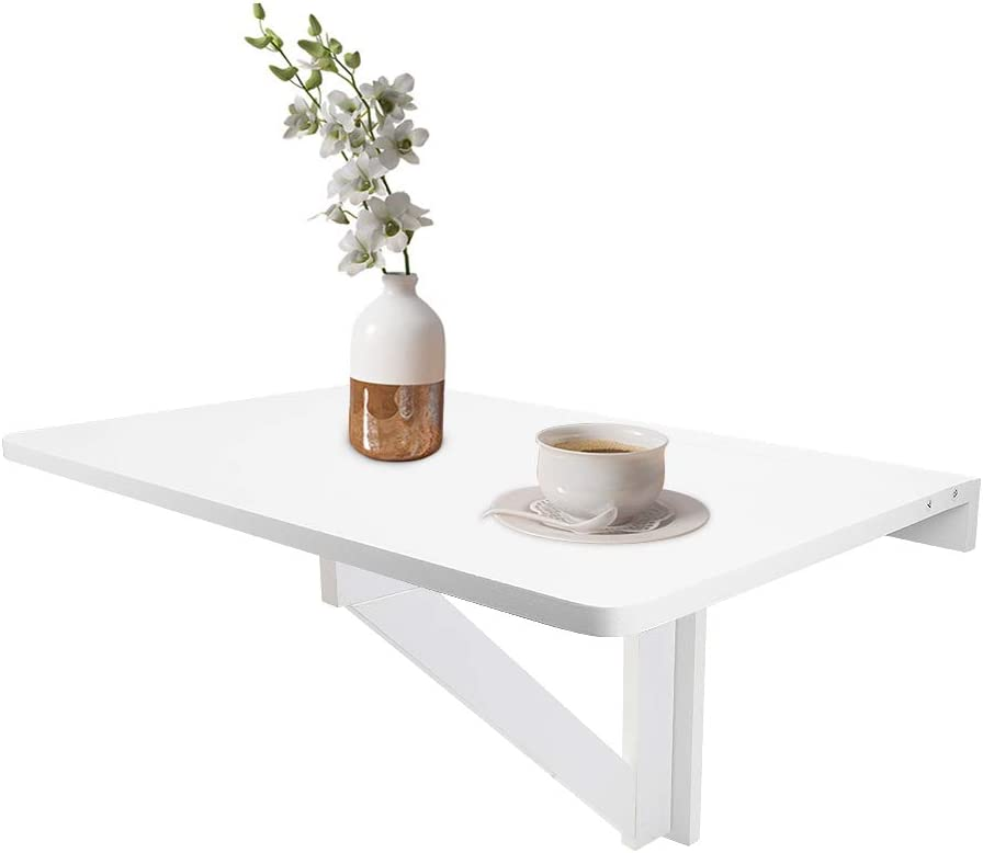 DricRoda Wall-Mounted Folding Table, Drop-Leaf Space Saving Hanging Laptop Desk for Bedroom,Balcony,Dining Room,Single Room and Apartment (White)