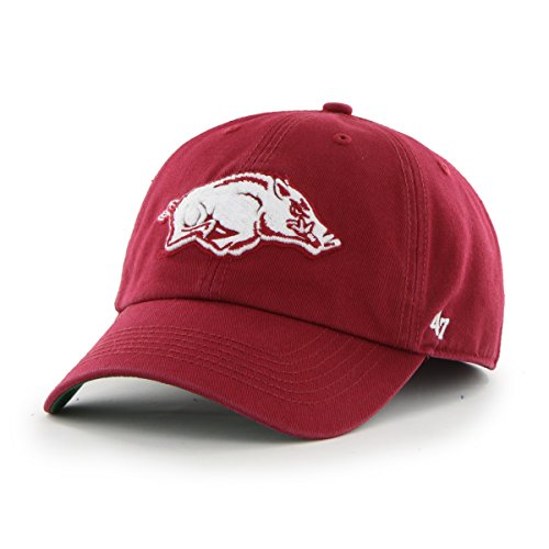 Ncaa Fitted Cap Hat - '47 NCAA Arkansas Razorbacks Franchise Fitted Hat, Dark Red A, XX-Large