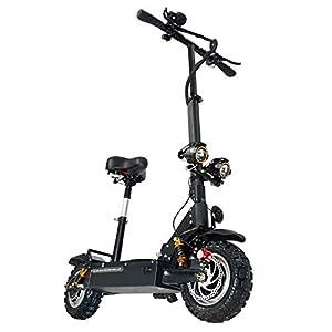 GUNAI Scooters Électriques Adulte Pliable, 150kg Charge Max avec siège 11 Pouces,Batterie au Lithium 60V 24AH avec Freins à Double Disque, LED lumière et HD Display