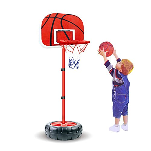 Sytle-Carry Kids Basketball Hoop Toddlers Toys - Indoor Outdoor Portable Adjustable Basketball Stand & Goals with Net & Mini Ball