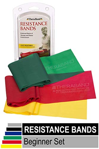 Check Out This TheraBand Resistance Bands Set, Professional Non-Latex Elastic Band, Yellow/Red/Green...