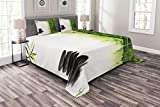 Lunarable Spa Bedspread Set King Size, Bamboos Reflecting to The Water Near The Hot Black Massage Stones Print, Decorative Quilted 3 Piece Coverlet Set with 2 Pillow Shams, Black Green and White
